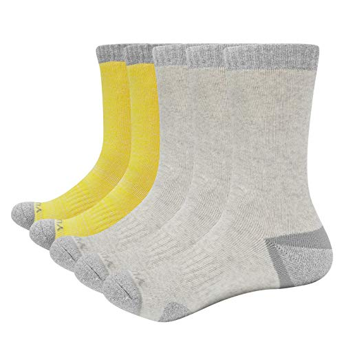 YUEDGE Calcetines de algodón para mujer, para senderismo, deporte, gruesos, cálidos, invierno, 5 pares, para mujer, 35-38