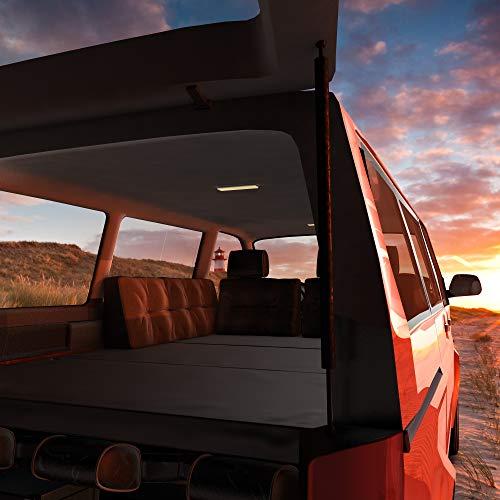 MSS Matratze kompatibel mit T4 T5 T6 VW Bus Multivan Klappmatratze anthrazit wahlweise mit Lounge Kissen und Tasche 185 x 147 x 8cm