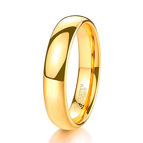 Shuremaster 4mm Tungsten Wedding Band Ring for Men Women Gold Plated Domed High Polished Comfort Fit 9.5