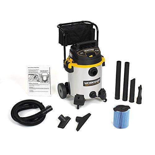 WORKSHOP Wet/Dry Vacs Vacuum WS1600SS Heavy Duty Stainless Steel Wet/Dry Vacuum Cleaner, 16-Gallon Stainless Steel Shop Vacuum Cleaner, 6.5-Peak HP Wet And Dry Vacuum