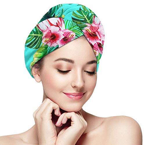 QHMY Oiseau Exotique Flamingo Motif Micro Fibre Cheveux Serviette Wrap Séchage Rapide Cheveux Wrap Cap 28 x 11 Pouces