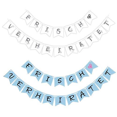 Sinoest Frisch Verheiratet Girlande Hochzeit Banner Wimpelkette Weiss & Blau Hochzeitsdeko - Just Married Girlande Dekoration für Hochzeitszeremonie Fotorequisiten Brautdusche Junggesellinnenabschied