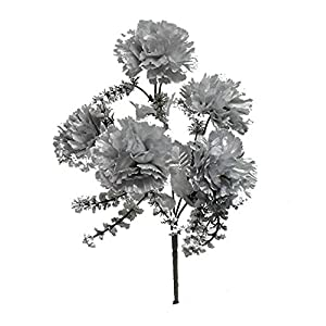 Rima 5 x Carnations ~ Many Colors ~ Bridal Silk Wedding Flowers Bouquets (Silver)
