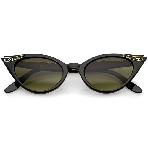 zeroUV - 50s Vintage Cat Eye Sunglasses for Womens with Rhinestones Pinup Girl Clothing Rockabilly Accessories (Black)