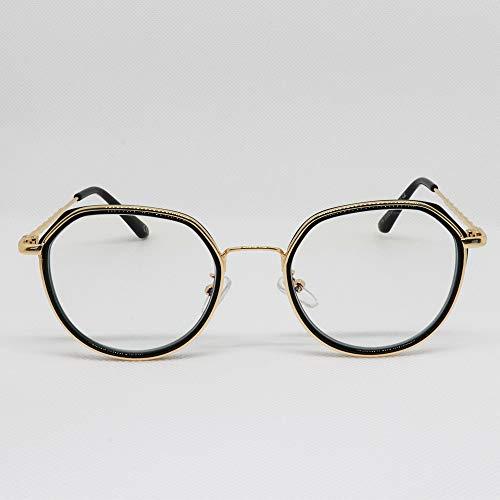 Aniston - Occhiali da riposo dorati nero-Sista & Bro Eyewear- per uomo e donna, lenti antiriflesso 100% UV, speciale schermo di computer, PC, gaming, filtro luce blu