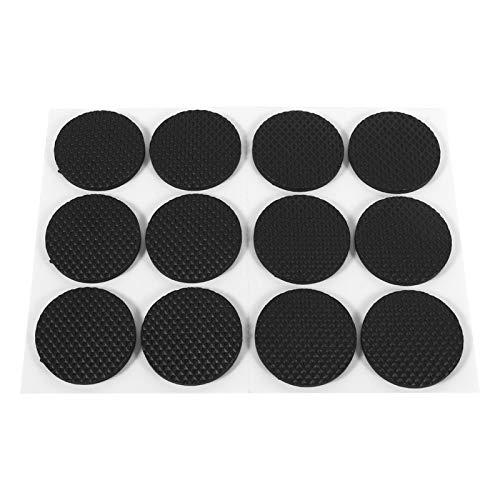 Jiawu Almohadillas Protectoras de Suelo de Color Negro de Amplia aplicación, 12 Piezas/Juego de Almohadillas Protectoras de Goma, para Taburete para Mesa