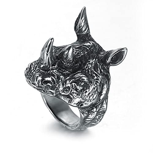 VUJK Anillo acero inoxidable para hombre, anillo motociclista con cabeza rinoceronte,anillos acero inoxidablePunkHip Hoppara hombre,anillos joyería 7