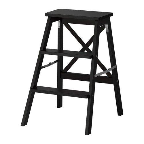 Ikea BEKVÄM Trittleiter aus massiver Buche; in schwarz; 3 Tritte; (63cm)
