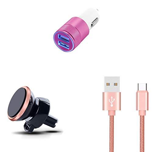 Shot Case Pack de Coche para Samsung Galaxy Tab S6 (Cable Cargador de Metal Tipo C, Adaptador de Encendedor de Cigarrillos y Soporte magnético), Color Rosa
