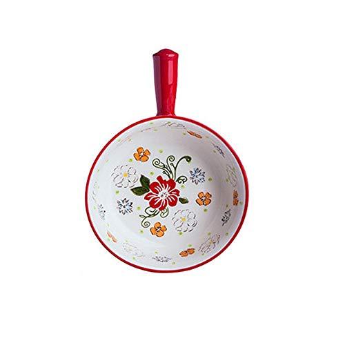 Cerámica de platos para hornear Horno microondas hogar estilo étnico arroz horneado hornear pizza pizza pizza cerámica plato de arroz Para el asado del horno ( Color : Pink , Size : 26.5x18.5x5.7cm )