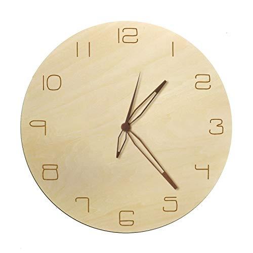 hufeng Reloj de Pared Arte rústico Natural Reloj de Pared Decorativo Números árabes Simples con Mano de Madera Reloj de Madera de diseño Minimalista de Cuarzo sin tictac