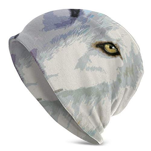 Gorra de Punto de Calavera Unisex Gorra de Calavera de esquí de Punto de Lobo de Color Blanco Gorra de Gorro