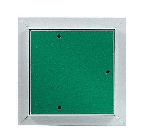 MW multi werkzeug Revisionsklappe 100 x 100 mm mit 12,5mm GK-Einlage imprägniert für Feuchtraum geeignet Aluminium-Rahmen weiß pulverbeschichtet 10 x 10 cm
