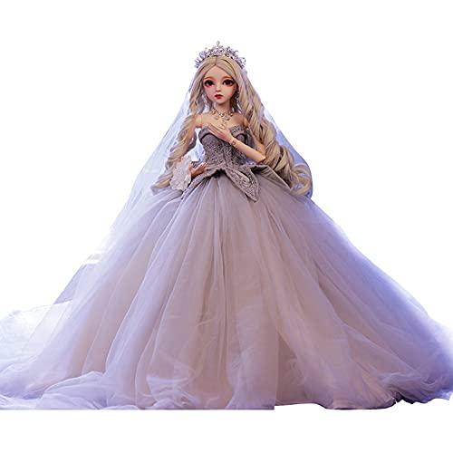 1 / 3BJ Dlook Avanzado Hecho a mano Hermosa Princesa Muñeca Princesa Doll Vestido Bola Junta 18, Muñeca ultraalista de 24 pulgadas BRICOLAJE Juguete completo conjunto de ropa, zapatos, peluca y maquil