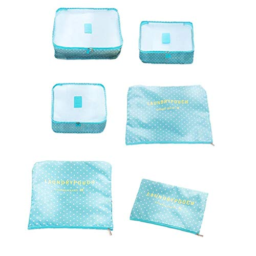 Packing Cubes Travel Storage Bags Trip Luggage Organizer Pouches for Clothes Blue Dot Pattern 6pcs