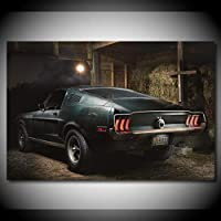家の装飾キャンバス黒い車クールな壁のアート絵画 の写真を見るギフト印刷リビングルーム用モジュラーアートワークポスター/ 60x80cm(フレームなし)
