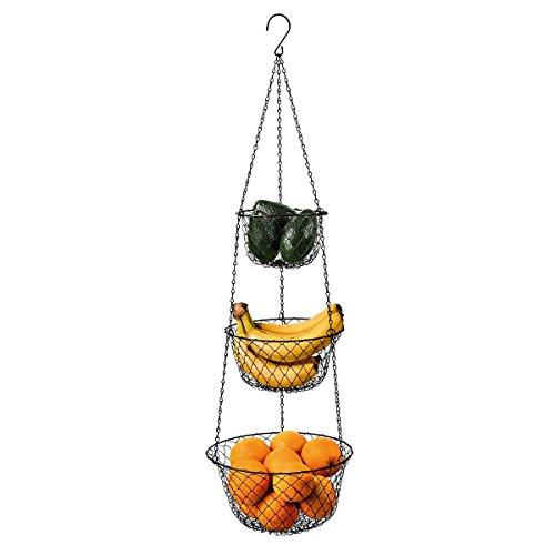 Malmo Hängekorb 3 stöckiger Pflanzen-,Gemüse-,Obstkorb, Verschiedene Ausführungen zur Aufbewahrung, Aufhängen 84cm für Küche und Zimmer bis zu 5kg belastbar Farbe: schwarz