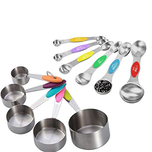 11-Piece Stainless Steel Measuring Cups and Spoons Set - Multicolored Measuring Spoons and Cups With Soft Silicone Handles - Complete Set of Measure Cups and Spoons For Baking, Cooking, and More
