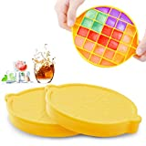Ice Cube Trays, SEEOOR Silicone Ice Cube Molds with Lid, Ice Trays for Freezer BPA Free Stackable Easy Release for Whiskey, Cocktail & Chilled Drinks (2 Pack)