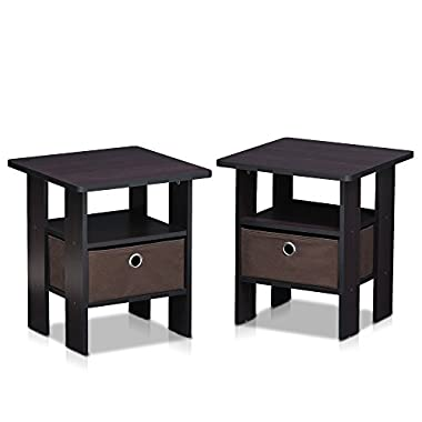 Furinno 2-11157DWN Dark Walnut Petite End Table Bedroom Night Stand, Set of Two