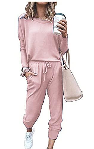 Smile Fish Conjunto de 2 piezas de chándal de manga larga para mujer casual y pantalones con cordón, rosa, S