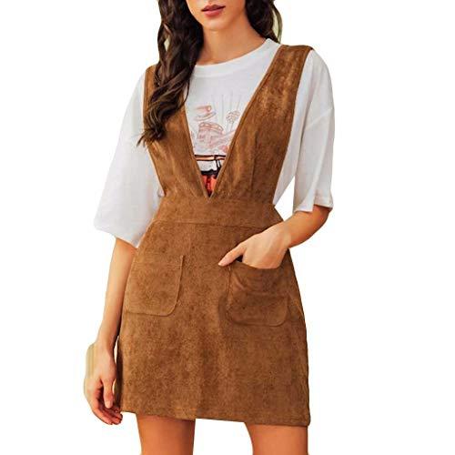 TEELONG Kleider Damen Frauen-Bügel-Kleid V-Ansatz Art- und Weisecordärmelloses Minikleid Ballkleid Partykleid Cocktailkleid(L, Braun)