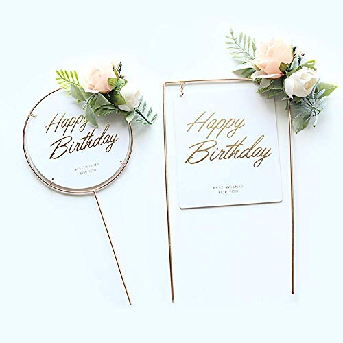Efive Arts 2 Pcs Golden Metal frame White Frosted Circle and square style Acrylic Happy Birthday Cupcake Cake Topper Picks Artificial Flower Cake Decoration for Birthday Themed Children Adults Party