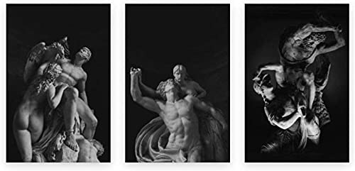 Classic Black White Sculpture Poster Classical Art Prints Greek Mythology Statue Wall Art Picture Abstract Canvas Paintings Living Room Modern Decor 40x60cmx3 No Frame
