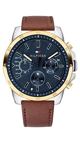 Tommy Hilfiger Herren Multi Zifferblatt Quarz Uhr mit Leder Armband 1791561