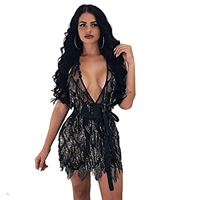 L'VOW Women's Glitter Sexy Deep V Neck Sequin Beaded Halter Bodycon Mini Nightclub Party Dress