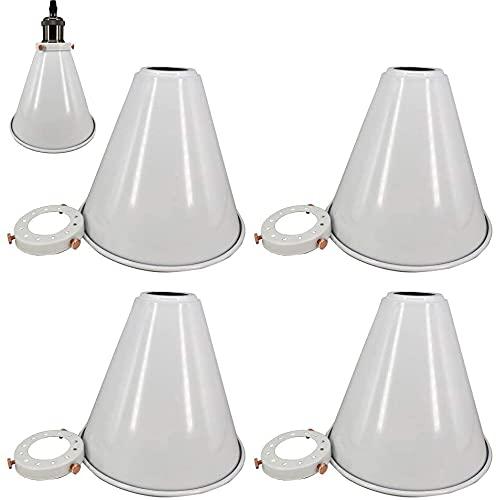 FSLIVING Lámpara colgante de estilo industrial vintage, estilo nórdico, color blanco, con pantalla y anillo incluidos (4 unidades)