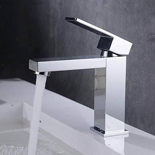 Homelody Grifo de Lavabo Grifo de Baño de Latón Grifo Monomando con Aireador ABS Desmontable Grifo Cuadrado para Agua Fría y Caliente Ahorrar Agua