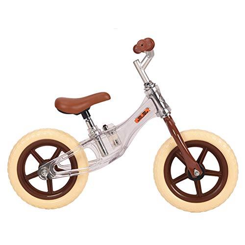 ERLAN Bicicletas sin Pedales Súper Ligero Bicicleta de Equilibrio con Flash, Niño de 2 a 6 Años, Capacitación Bicicletas para Caminar con Ruedas de 12 Pulgadas y Asiento de Esponja, Marrón