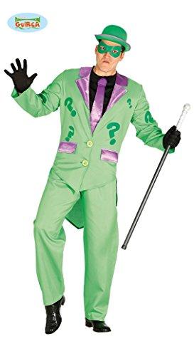 5-teilig - Herren Mister Incognito Riddler Kostüm - Frack Hose Maske Jabot mit Krawatte -  Gr.M