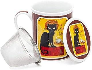 Aromas de Té - Taza de Té con Filtro y Tapa/Tisana Infusiones y tes de Porcelana con Infusor de Acero, Diseño Le Chat Noir