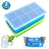 (2 Pack) Food Grade Large Silicone Ice Cube Trays,Limque 8 Ice Cube Mold with Removable Lid - for...
