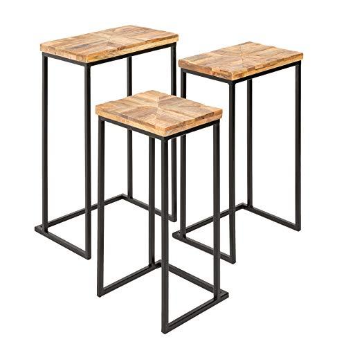 riess-ambiente.de Industrial 3er Set Beistelltische Industrial Mango Natur Metallgestell Wohnzimmertisch Tisch