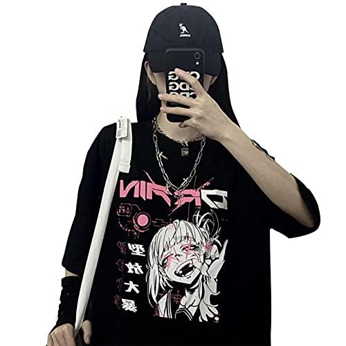 HongYa Vintage Anime Cartoon T-Shirt Frauen Tiktok Kleidung Gothic T-Shirt Streetwear Print Loose Tops Korean Summer Schwarz T-Shirt