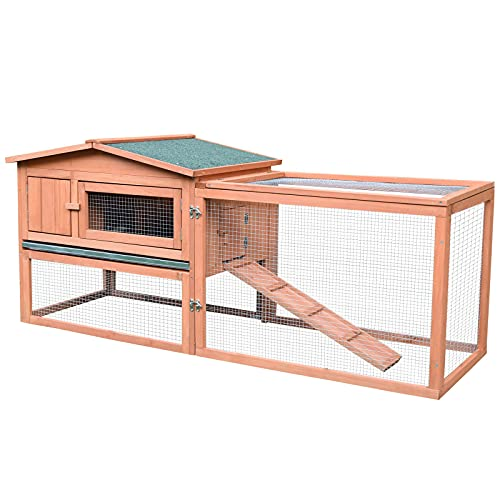 Pawhut 62' Outdoor Rabbit Hutch with Run, Guinea Pig Pet House Bunny Cage with Pull Out Tray, Waterproof Roof