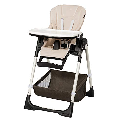 COSTWAY Trona para Bebé Altura Ajustable Silla Alta con Respaldo y Reposapiés Ajustable para Niños (Marrón claro)