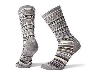 Smartwool Ethno Graphic Crew Socks - Women's Ultra Light Cushioned Merino Wool Performance Socks Medium Light Gray-black
