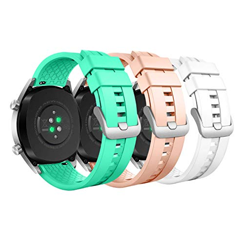MoKo 3-PACK Band Compatible with Huawei Watch GT 46mm/Watch GT 2 46mm/Watch GT Active/Watch 2 Pro/Honor Watch Magic/Galaxy Watch 46mm/Gear S3,Soft Silicone Replacement Strap,Lake Blue/Light Pink/White