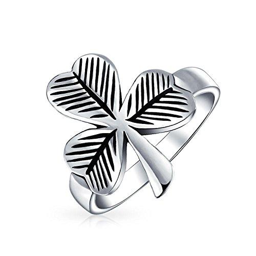 Good Luck Celtic Irish Trinity Shamrock Clover Ring For Women For Men Antiqued Oxidized 925 Sterling Silver