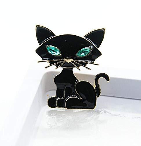 THTHT Green Eyes Sexy Black Esmalte Pins Cat Broches para Mujeres Y...