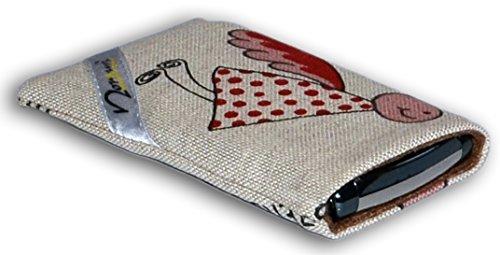 Norrun Handytasche / Handyhülle # Modell Elfgard # ersetzt die Handy-Tasche von Hersteller / Modell AT Mobile At Cobra # maßgeschneidert # mit einseitig eingenähtem Strahlenschutz gegen Elektro-Smog # Mikrofasereinlage # Made in Germany