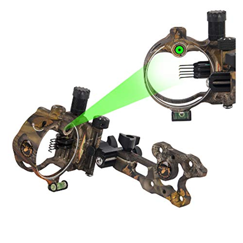MILAEM Micro Adjust 5 Pin/7 Pin Compound Bow Sight with Retina Lock Technology 0.019 Optical Fiber Sight CNC Aluminum Horizontal Vertical Adjustment Bow Sight Shooting (Camo/9150)