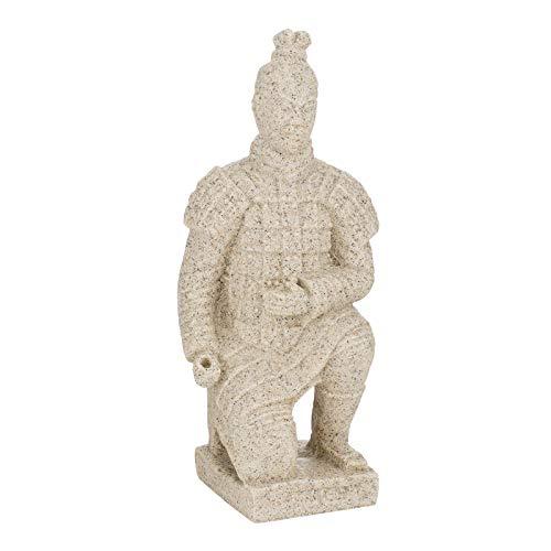 Aufora Terracotta-Krieger kniend, 19 cm, Beige