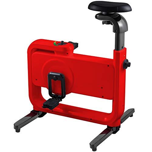 Happybuy Magnetic Exercise Bike, 901 Adjustable Seat Folding Exercise Bike, Rotary Adjustable Magnetic Resistance Exercise Bike with Electronic Display, Sports Bracelet for Cardio Training (Red)