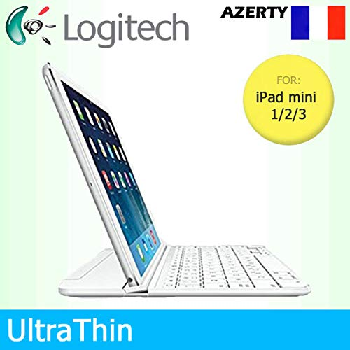 Logitech UltraThin Magnetic Clip-On Bluetooth Cover per Apple iPad mini 1/2/3 Solo - Tastiera francese AZERTY - Bianco