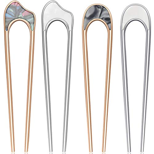 4 Pieces U Shaped Hair Pin Stick Vintage Metal Hair Pin Fork Sticks Hair Chignon Pins Elegant Hair Chopsticks U Shaped Headdress U Sticks Pins Hair Styling Accessories for Woman Girls